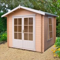 See more information about the Shire Barnsdale Untreated 19mm Garden Log Cabin & Veranda 8' x 8'