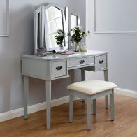 See more information about the Bella Dressing Table Grey 3 Drawer With Stool
