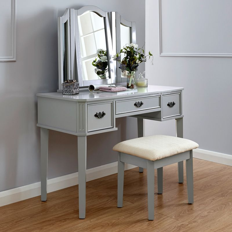 Bella Grey Dressing Table & Stool Set