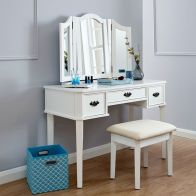 See more information about the Bella Dressing Table White & Wood 3 Drawer With Stool