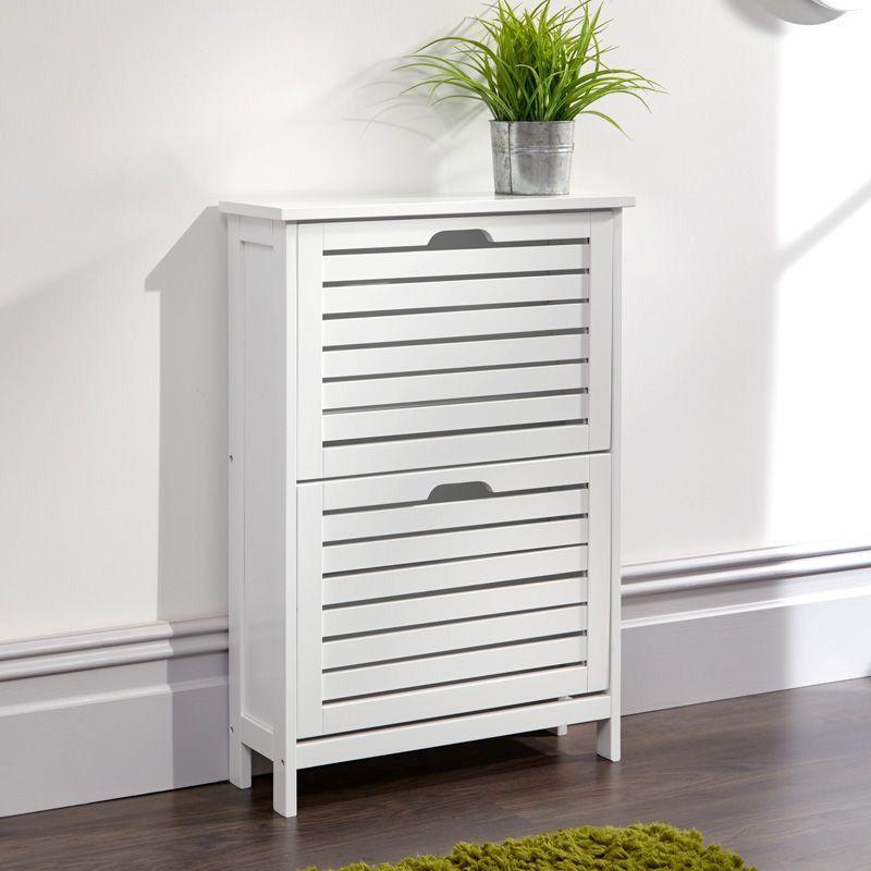 Bergen Shoe Storage White 2 Door, Shoe Storage White Cabinet