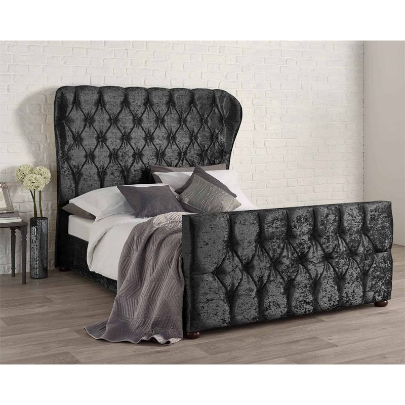 Bellagio Velvet Black 4ft 6in Double Bed Frame