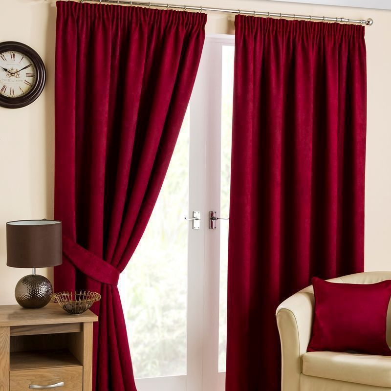 "Fusion Belvedere Black Out Curtains (66"" Width x 90"" Drop) - Cranberry"