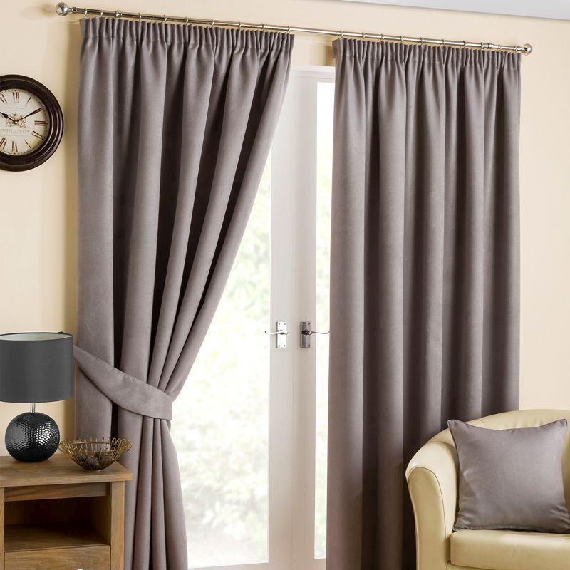 "Fusion Belvedere Black Out Curtains (45"" Width x 72"" Drop) - Pewter"