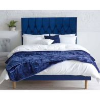 See more information about the Catherine Lansfield Divan Velvet Blue 4ft Queen Size Bed Frame