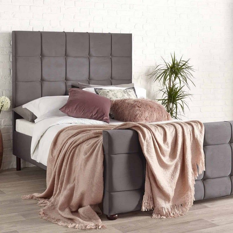 Brooklyn Velvet Grey 5ft King Size Bed Frame