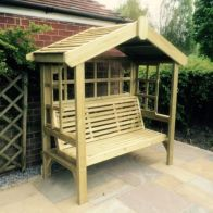 See more information about the Croft Cottage 3 Seat Trellis Garden Arbour