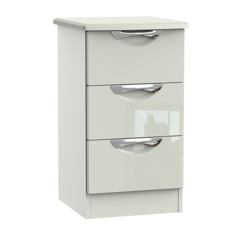 Weybourne Bedside White & Grey 3 Drawers