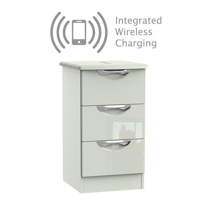 Weybourne Bedside White & Grey 3 Drawers With Wireless Charging