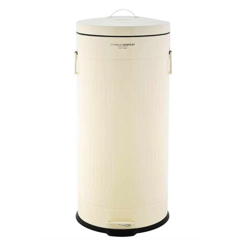 30L Retro Steel Waste Rubbish Kitchen Pedal Bin - Cream