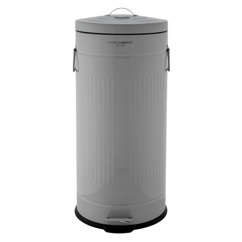 30L Retro Steel Waste Rubbish Kitchen Pedal Bin - Grey
