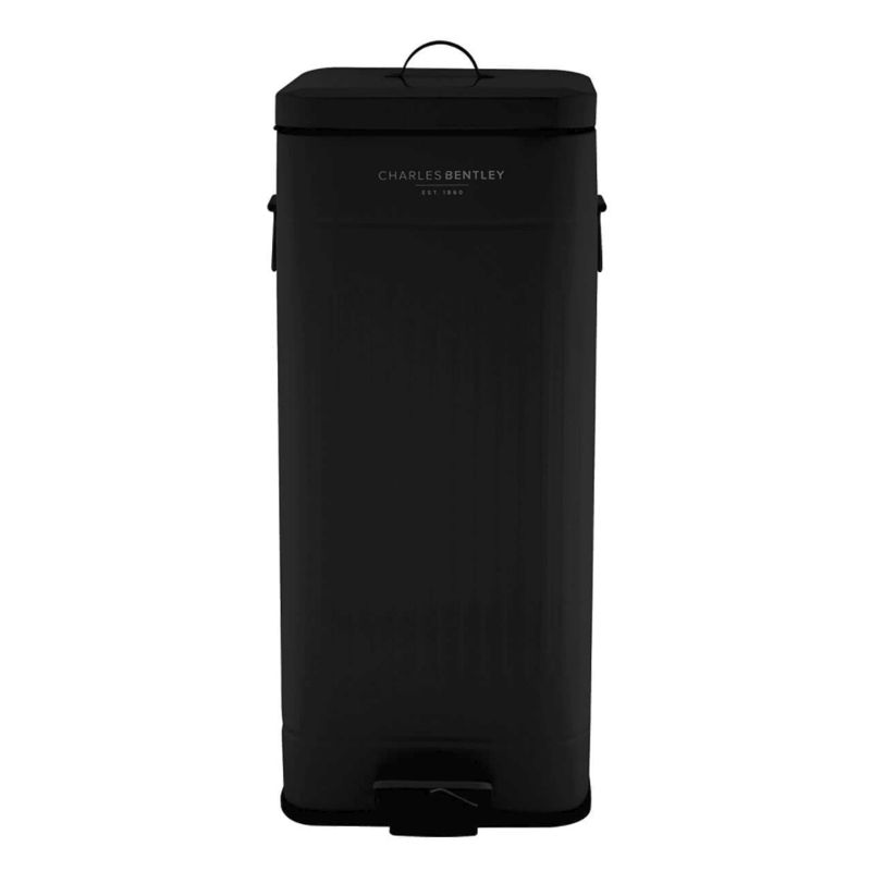 30L Steel Square Retro Kitchen Pedal Waste Bin - Black