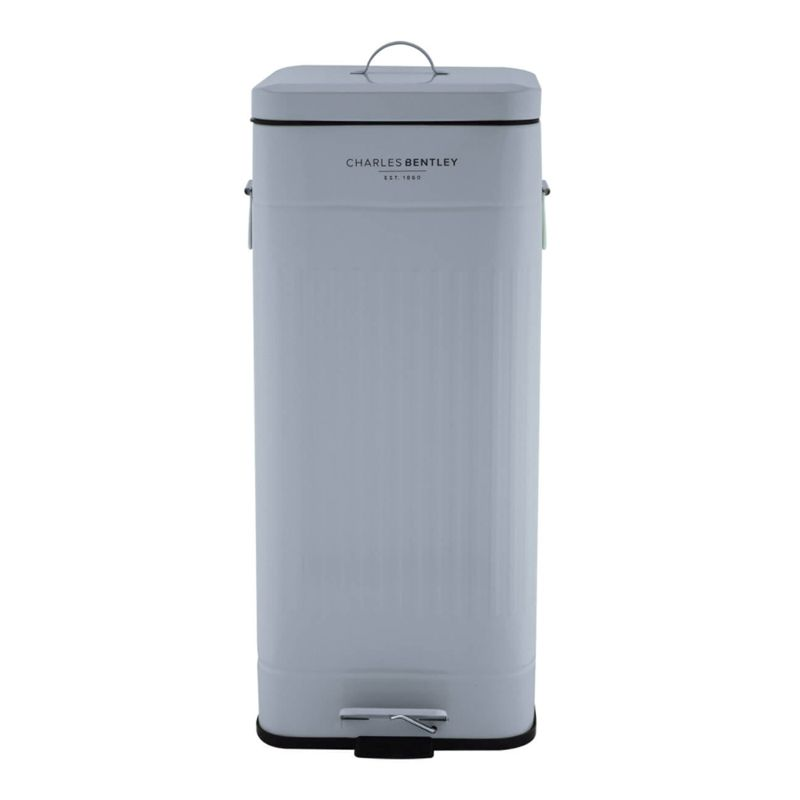 30L Steel Square Retro Kitchen Pedal Waste Bin - Grey
