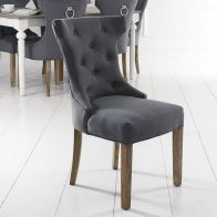 See more information about the Lancelot Winged Back Dining Chair Grey With Button Detailing