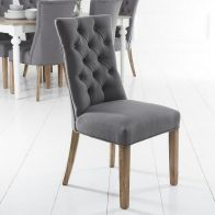 See more information about the Lancelot Curved Back Dining Chair Grey With Button Detailing