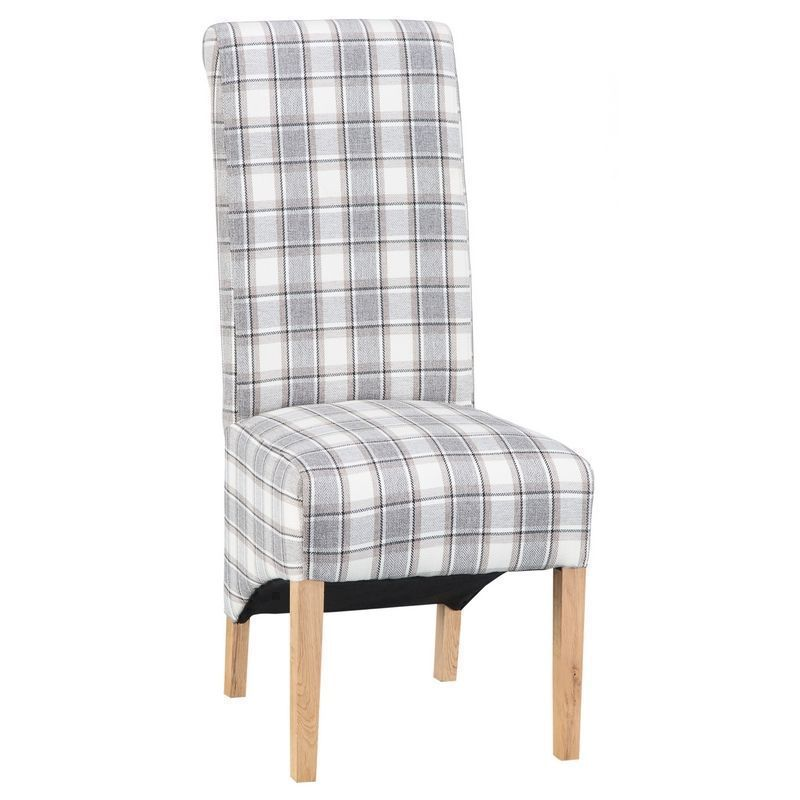 Lancelot Scroll Back Dining Chair Light Grey Check