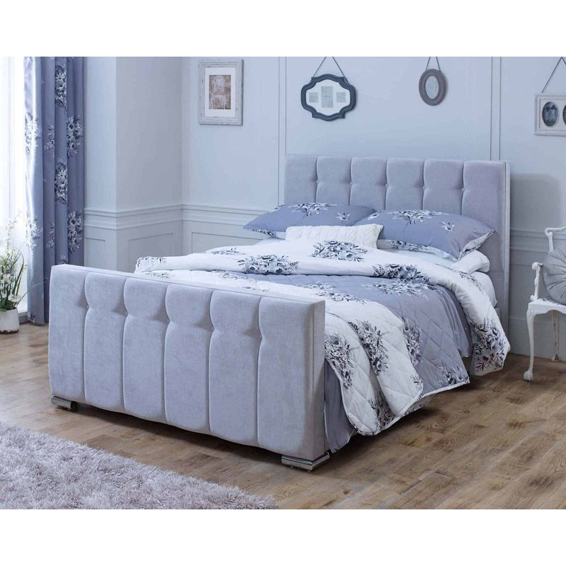 Lansfield Canterbury Velvet Silver 6ft Super King Size Bed Frame