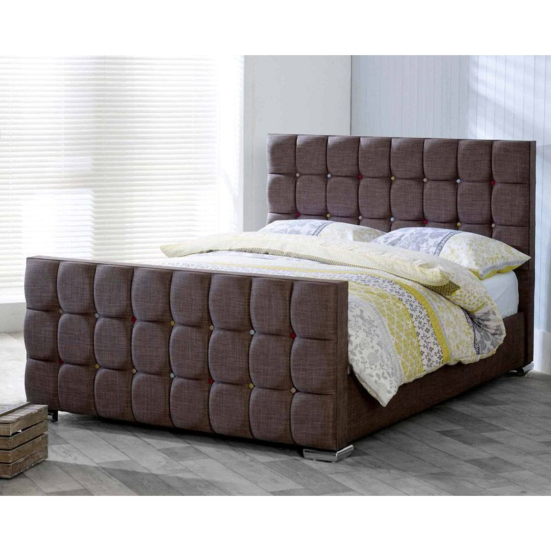 Lansfield Gatsby Velvet Brown 6ft Super King Size Bed Frame