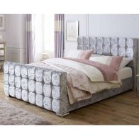 See more information about the Catherine Lansfield Gatsby Velvet Silver 4ft Queen Size Bed Frame