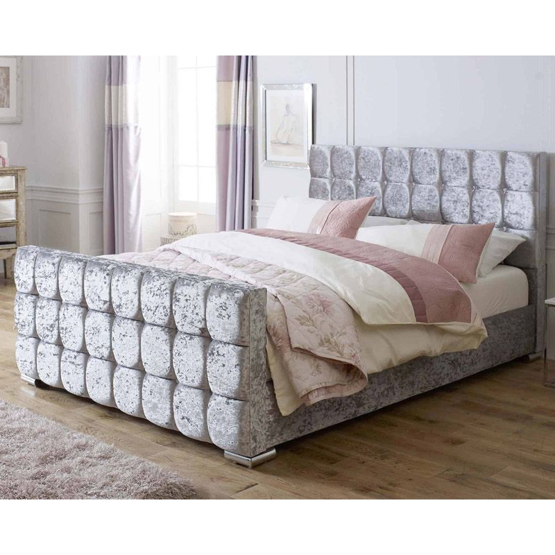 Lansfield Gatsby Velvet Silver 4ft 6in Double Bed Frame