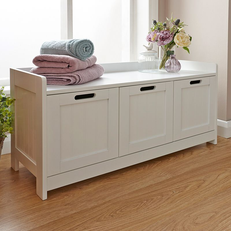 Colonial Storage Bench White 3 Drawer