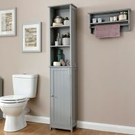 See more information about the Colonial Slim Tall Cabinet Grey 1 Door 6 Shelf