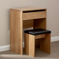 See more information about the Compact Oak Finish Mirror Dressing Table & Stool Set
