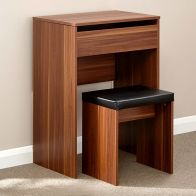 See more information about the Compact Walnut Finish Mirror Dressing Table & Stool Set