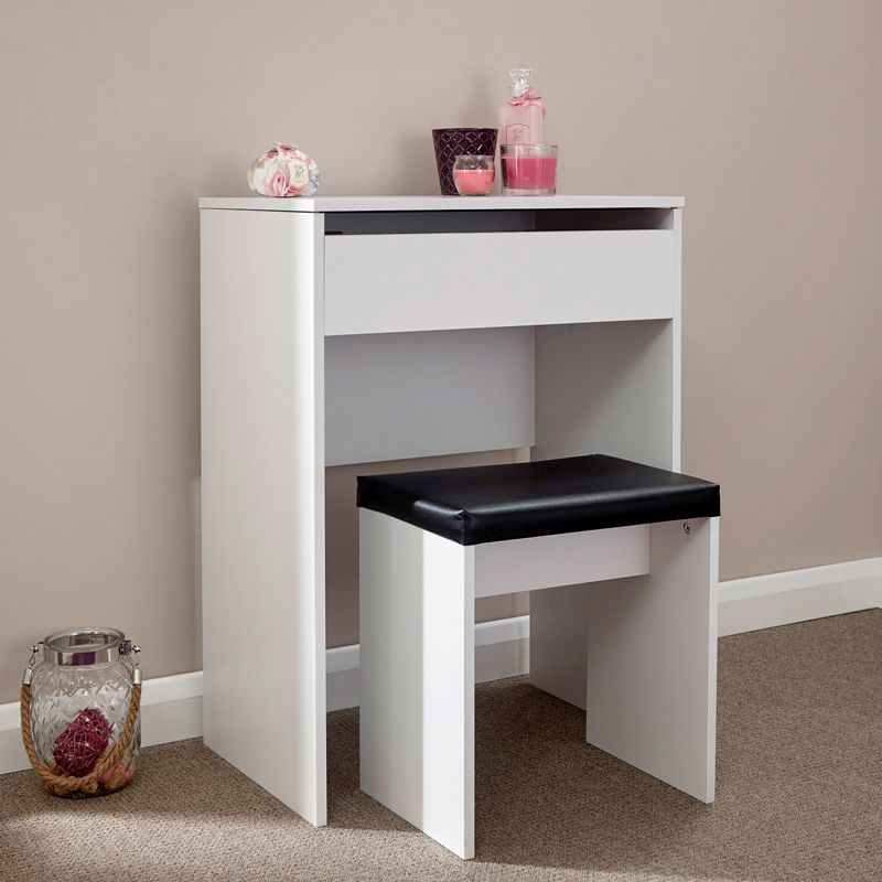Budget Dressing Table White 1 Door With Stool