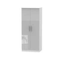 See more information about the Buxton 2 Door Bedroom Wardrobe Grey Gloss & White