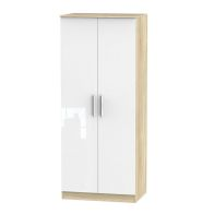 See more information about the Buxton 2 Door Bedroom Wardrobe White Gloss & Brown