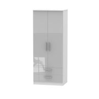 See more information about the Buxton 2 Drawer Bedroom Wardrobe Grey Gloss & White