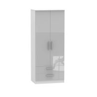 See more information about the Buxton Wardrobe Grey 2 Door 2 Drawer