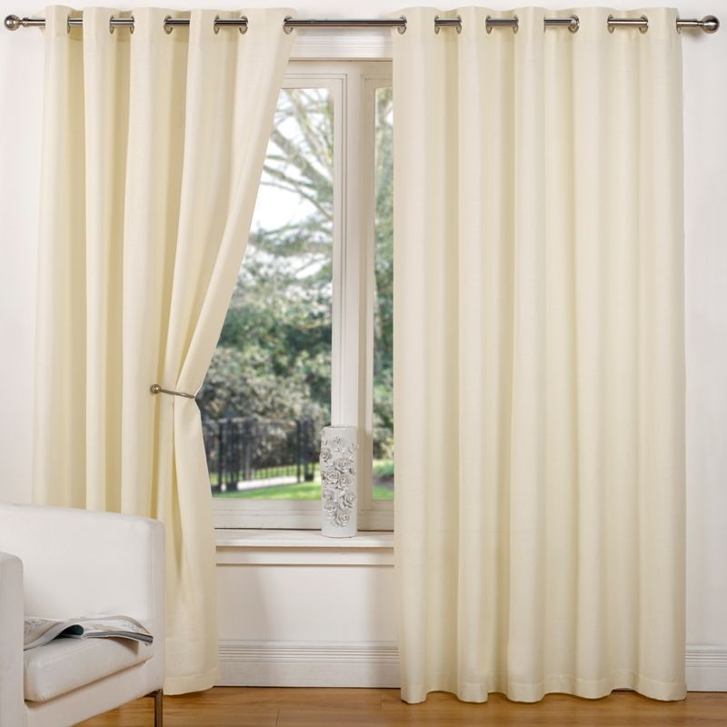 "Canvas Eyelet Curtains (66"" Width x 90"" Drop) - Natural"