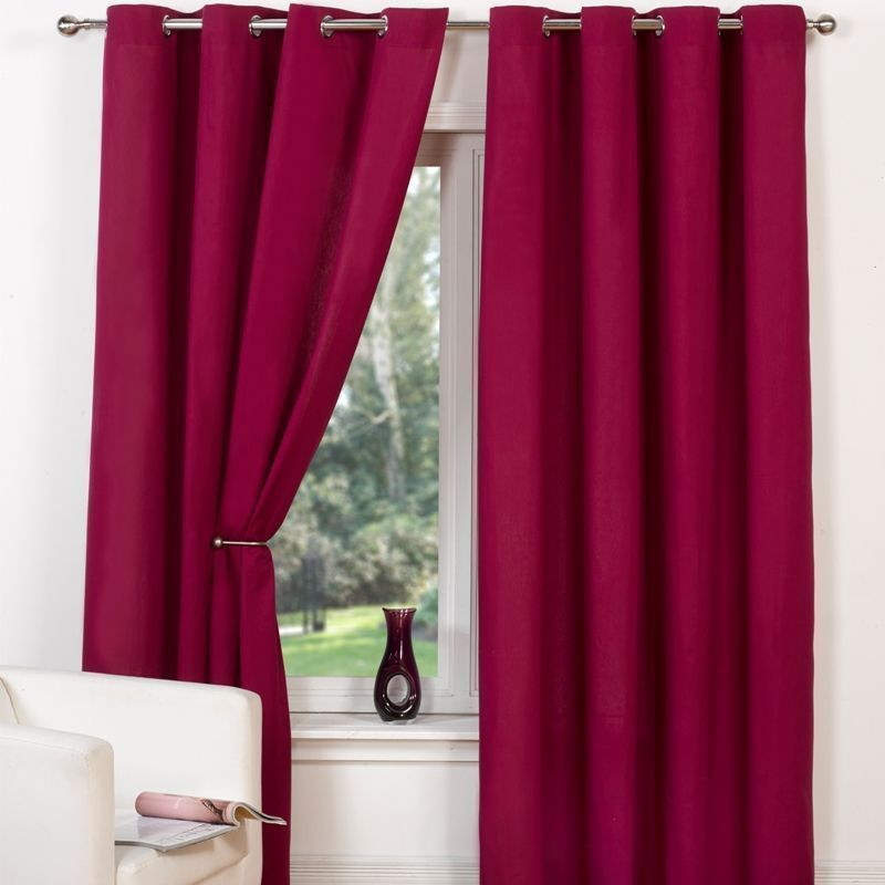"Canvas Eyelet Curtains (66"" Width x 72"" Drop) - Raspberry"