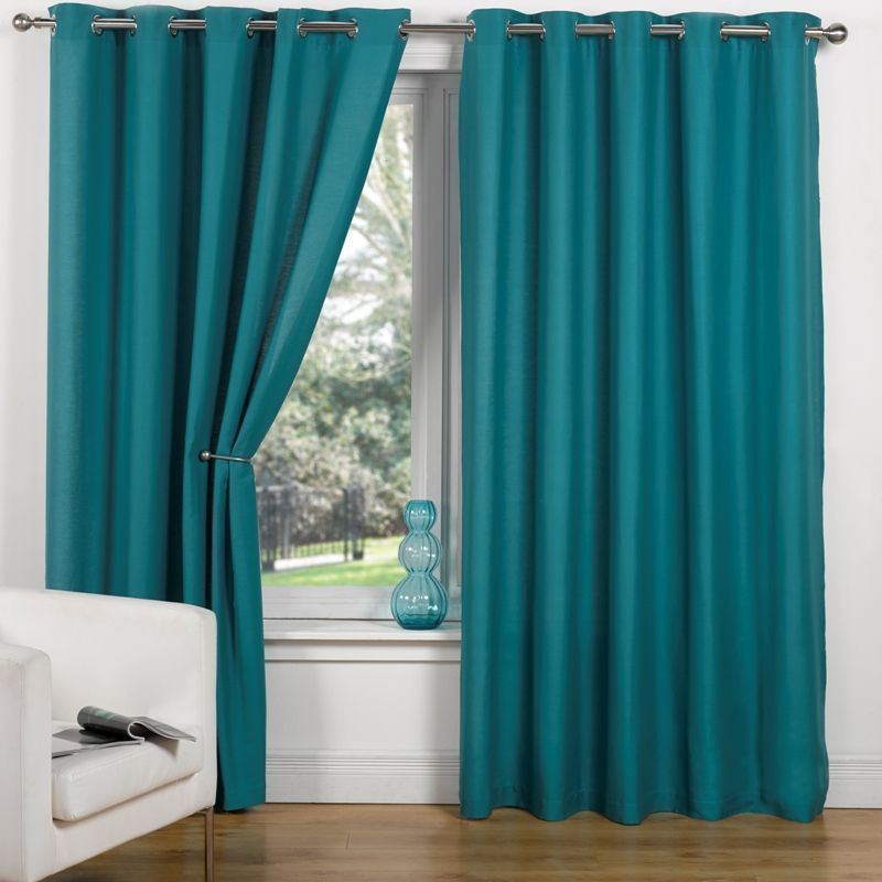 "Canvas Eyelet Curtains (90"" Width x 90"" Drop) - Teal"