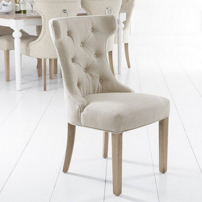 Lancelot Winged Back Dining Chair Beige With Button Detailing