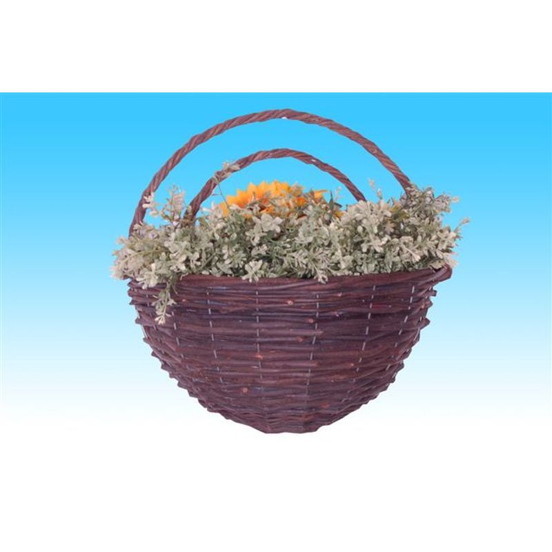 "Black Rattan Wall Basket (14"")"