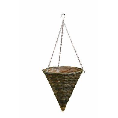 12 Inch Hanging Cone Shape Rattan Basket Black