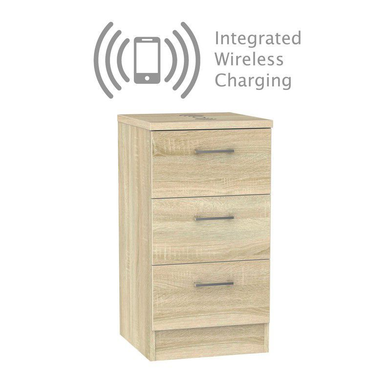 Elmsett Bedside Light Brown 3 Drawers With Wireless Charging