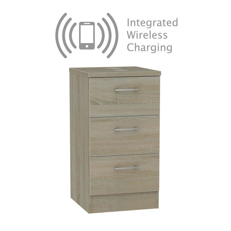 Elmsett Bedside Brown 3 Drawers With Wireless Charging