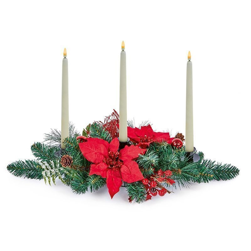 Indoor Red Poinsettia Christmas Candle Holder