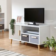See more information about the Delta TV Unit White & Grey 1 Door 1 Shelf 2 Drawer Small