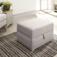 See more information about the Dauphine MDF Square Light Grey Hopsack Fabric Storage Foot Stool