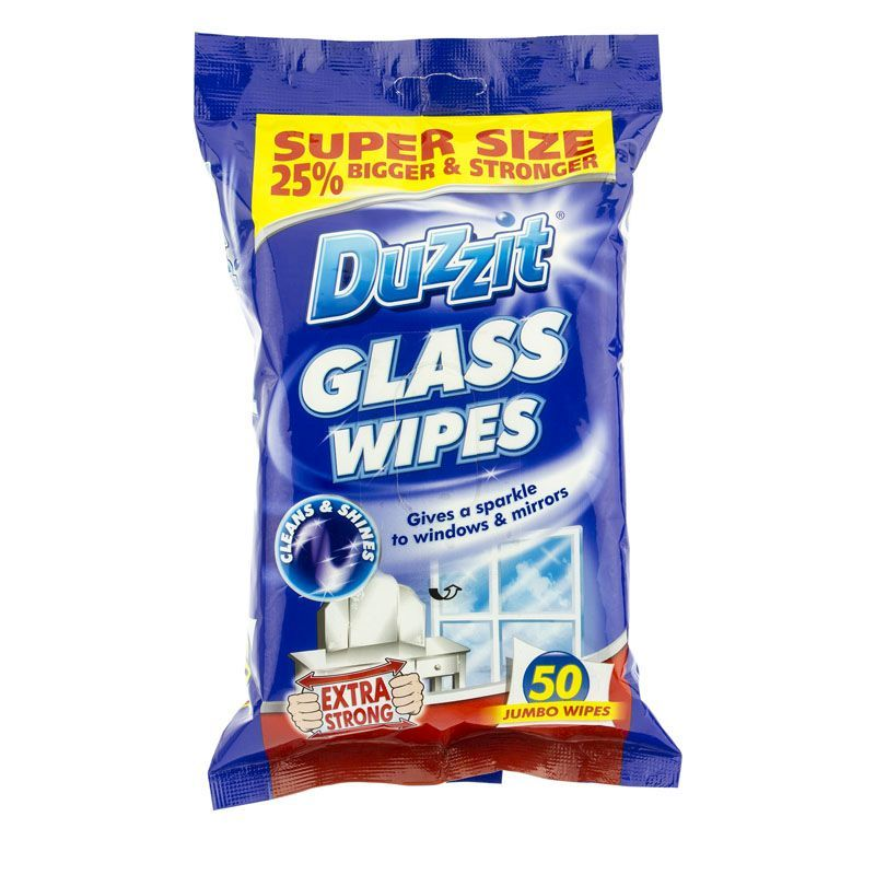 Duzzit Extra Strong Glass Wipes 50 Pack
