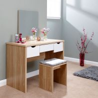 See more information about the Elizabeth Dressing Table White & Oak Style 3 Drawer With Stool