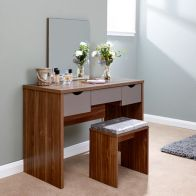 See more information about the Elizabeth Dressing Table Walnut Style 3 Drawer With Stool