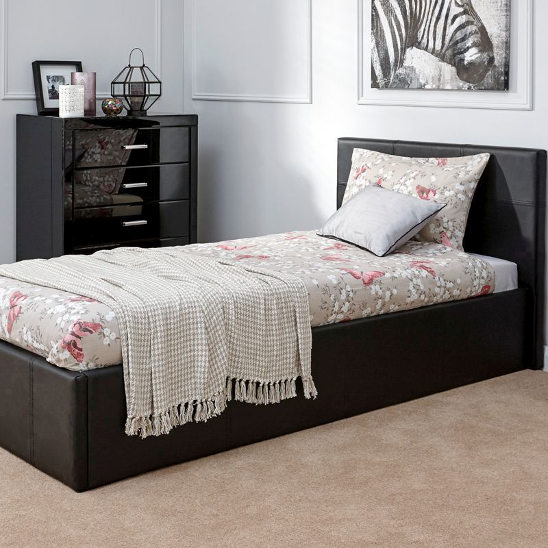 Faux Leather Single Bed 3ft Black Ottoman Bed Frame