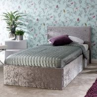 See more information about the Crushed Velvet Grey End Lift Ottoman Single 3ft Bed Frame