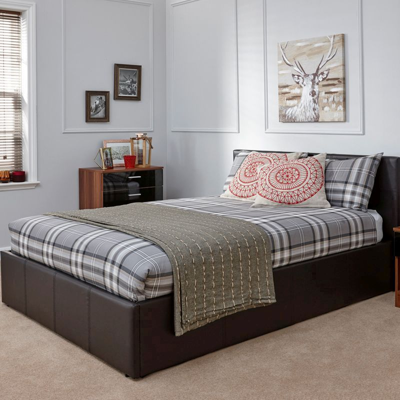 Winston End Lift Small Double Ottoman Bed Brown Faux Leather